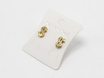 Liquidation/Wholesale Lot: Dozen Gold Stainless Steel $ Sign Stud Earrings E1362G