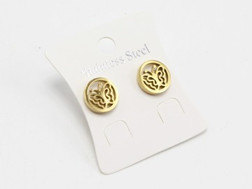 Liquidation/Wholesale Lot: Dozen Gold Stainless Steel Butterfly Stud Earrings E1356G