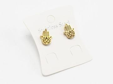 Liquidation/Wholesale Lot: Dozen Gold Stainless Steel Hamsa Hand Stud Earrings E1361G