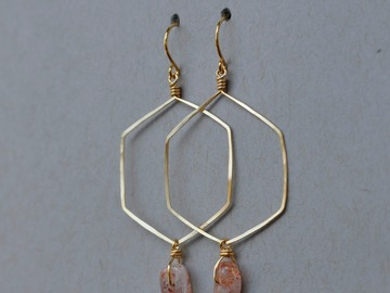Selling: Sunstone hexagon hoop earrings