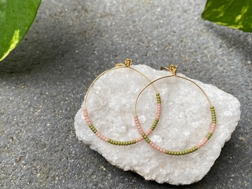 Selling: Pink and green seed bead hoops