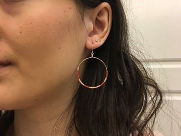 Selling: Orange and pink seed bead hoop earrings