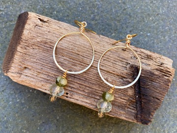 Selling: Green textured hoop earrings