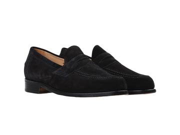 Online payment: Sanders black suede Penny loafers, UK10.5, made in England