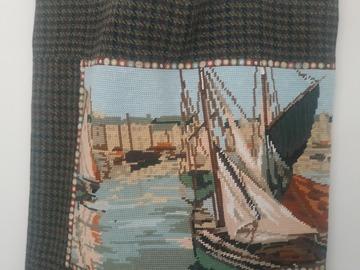 "Vente au détail: Grand sac cabas ""Voiles au port"", canevas et tissu écossais"