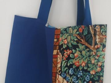 """Vente au détail: Sac cabas """"Médiévale bleue"""", canevas vintage et tissu uni"""