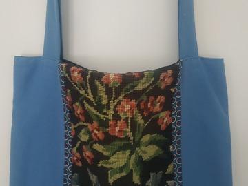 """Vente au détail: Sac cabas """"Clochettes bleues"""", canevas vintage et coton"""