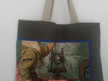 """Vente au détail: Grand sac cabas """"La Fileuse"""", canevas rétro et tissu de laine"""