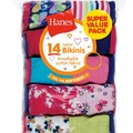 Liquidation/Wholesale Lot: Hanes Girls Tagless Bikini Underwear 14 Pack Panties Sizes 6 - 16
