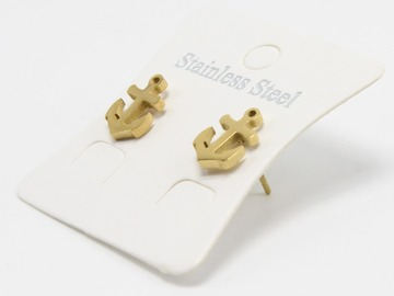 Liquidation/Wholesale Lot: Dozen Gold Stainless Steel Anchor Stud Earrings E1367G