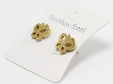 Liquidation/Wholesale Lot: Dozen Gold Stainless Steel Butterfly Stud Earrings E1364