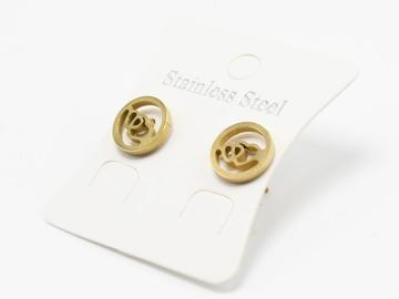 Liquidation/Wholesale Lot: Dozen Gold Stainless Steel Heart Stud Earrings E1365G