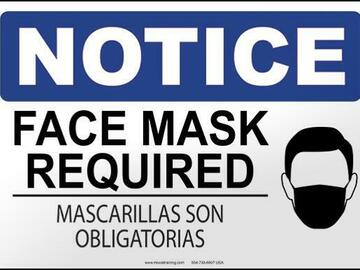 Products for Sale: Notice: Face Mask Required (English/Spanish)