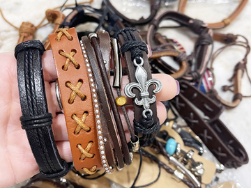 Liquidation/Wholesale Lot: 100 Leather bracelets unisex. $0.45 Each. Opportunistic deal.