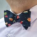 : Handmade bow tie - Dark blue, Japanese, with turtles