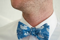 : Handmade bow tie - White boats on blue