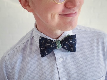 : Handmade bow tie - Dragonflies on navy blue and sea green