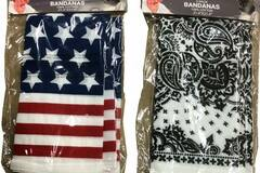 Liquidation/Wholesale Lot: 3-Pack Cotton Bandanas (White Paisley & Patriotic) – Only $1.50/P