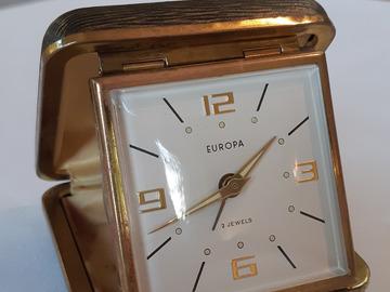 À vendre: Réveil de voyage vintage 1960 Europa 7 Jewels, laiton, à réparer
