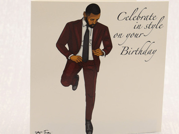 For Sale: Celebrate in Style on Your Birthday – Black Man Greeting Card
