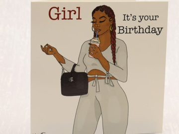For Sale: Girl – It's your birthday – Black Greeting Card