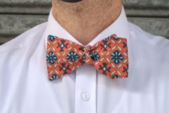 : Handmade bow tie - Orange with various diamond shapes