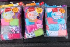 Liquidation/Wholesale Lot: Hanes girls underwear asst packages of 14 hipsters briefs bikinis