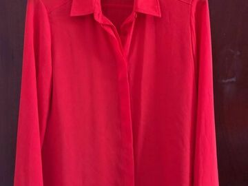 Selling with online payment: Orange-red sheer shirt