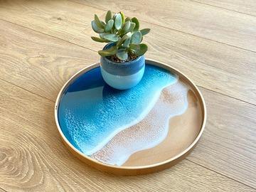 : Wood Serving Tray - Blue Diamond