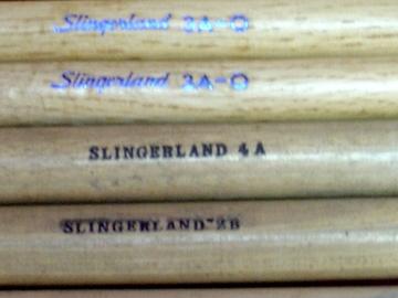 Selling with online payment: 6 SLINGERLAND Vintage drumsticks models 3A-0 (pair), 3B , 6A , 2B