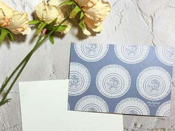 : Blue and White Dragon Pattern Bowl digital painting postcard