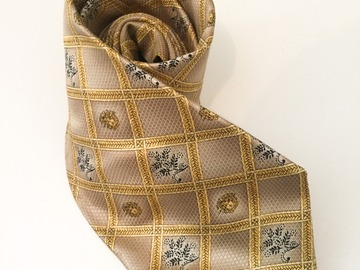 Online payment: Gold and beige geometric Versace tie