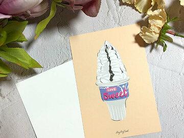 : Love sweet ice-cream digital painting postcard w/ envelope
