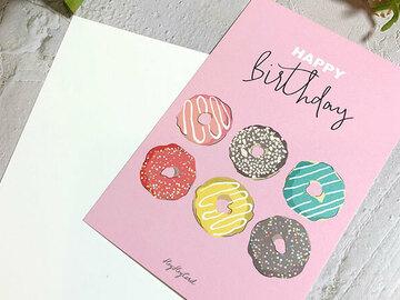: Digital painting colourful donuts birthday card, greeting card