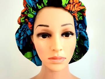 For Sale: African Print Ankara Satin Reversible Bonnet Natural Hair Care