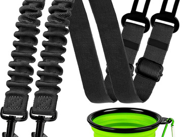 Liquidation/Wholesale Lot: 2 Retractable Dog Car Seatbelts With Collapsible Bowl
