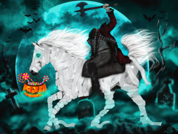 Sell Artworks: Headless Horseman with Mummy Horse on Halloween (Ready-to-hang)