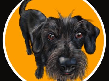 Sell Artworks: Motjo the Grumpy Dog (Ready-to-hang)