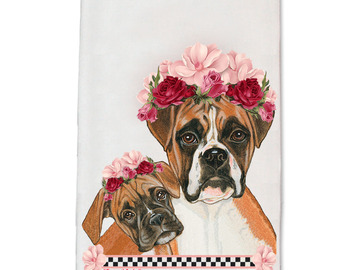 Selling: Boxer Dog Floral Kitchen Dish Towel Pet Gift