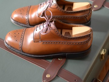 """Online payment: J.M. Weston """"Giscard"""" brogue derby shoes, with shoetrees UK7,5"""
