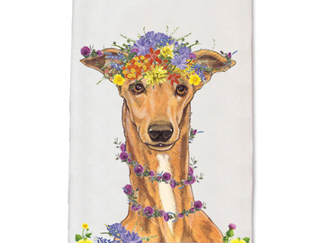 Selling: Greyhound Tan Greyhound Floral Kitchen Dish Towel Pet Gift