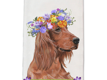 Selling: Irish Setter Dog Floral Kitchen Dish Towel Pet Gift