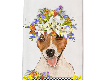 Selling: Dish Towel - Jack Russell Terrier Dog Floral Kitchen