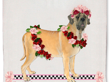 Selling: Mastiff Dog Floral Kitchen Dish Towel Pet Gift