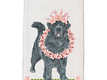 Selling: Newfoundland Newfie Dog Floral Kitchen Dish Towel Pet Gift