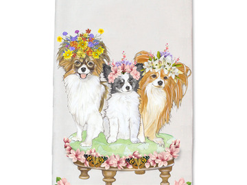 Selling: Papillon Dog Floral Kitchen Dish Towel Pet Gift