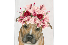 Selling: Pit Bull Tan Pit Dog Floral Kitchen Dish Towel Pet Gift