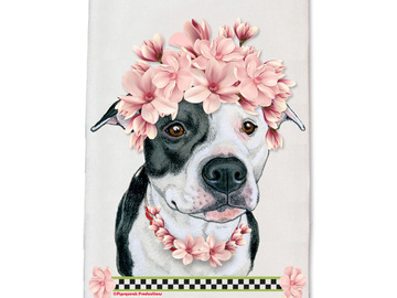 Selling: Pit Bull Black & White Pit Dog Floral Kitchen Dish Towel Pet Gift
