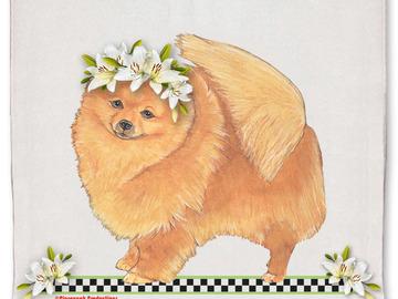 Selling: Pomeranian Dog Floral Kitchen Dish Towel Pet Gift