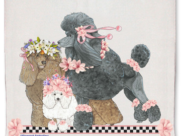 Selling: Poodle Dog Floral Kitchen Dish Towel Pet Gift